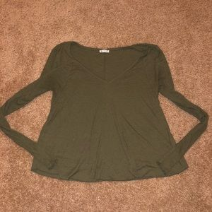 Women's Free People long sleeve ribbed top vneck